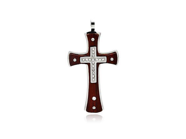 Double cross wood and stainless steel pendant