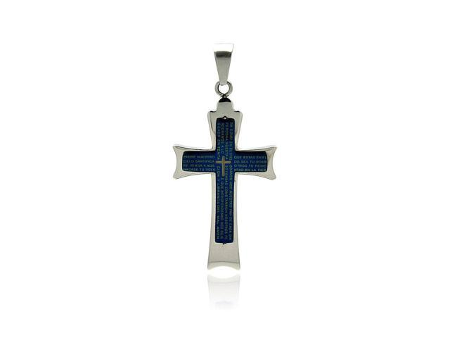 Double  stainless  steel cross pendant with blue god's prayer