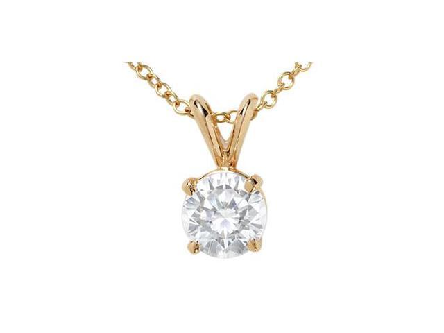 18k Yellow Gold Round Diamond Solitaire Pendant with Chain (1.00 ct)