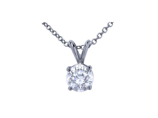 18k White Gold Round Diamond Solitaire Pendant with Chain (0.75 ct)