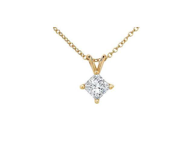 14k Yellow Gold Princess Diamond Solitaire Pendant with Chain (0.33 ct)