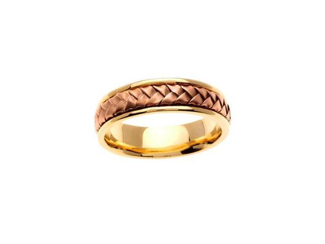 MenS 14K Two Tone Gold Braided Hand Woven Wedding Band