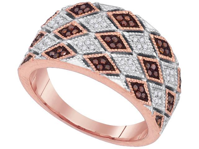 020Ctw Red And White Diamond 10K Rose Gold Micro Pave Wedding Ring Band