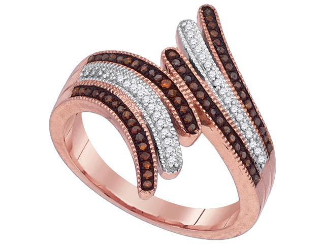 025Ctw Red And White Diamond 10K Rose Gold Micro Pave Wedding Ring Band