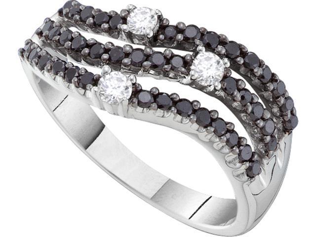 0 54CT Black White Diamond 14K Yellow Gold Womens Wedding Anniversary Ring Ba