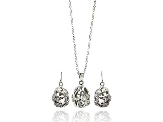 Rhodium Plated Brass Open Egg Bead Clear Cubic Zirconia Hook Earring & Necklace Set