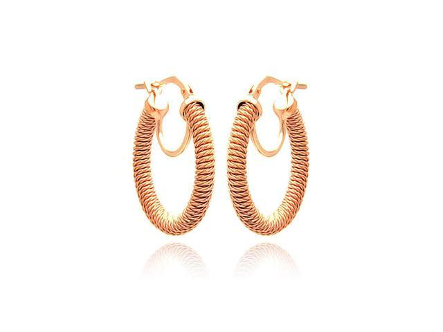 .925 Sterling Silver Rose Gold Plated Italian Hoop Earring
