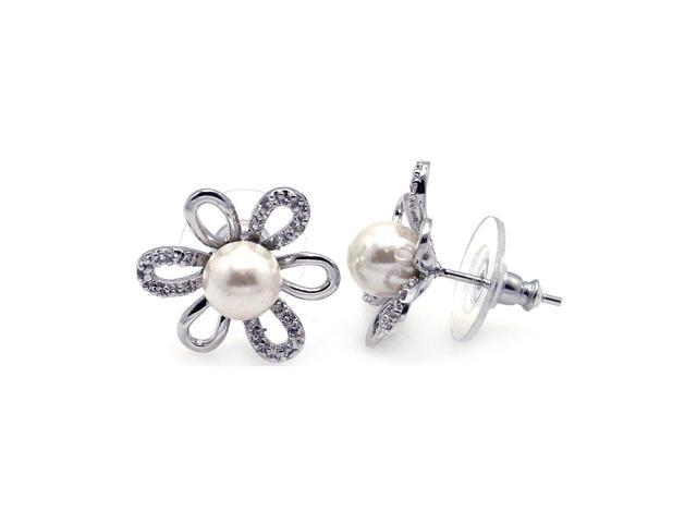 .925 Sterling Silver Rhodium Plated Sunflower Cubic Zirconia Pearl Stud Earring