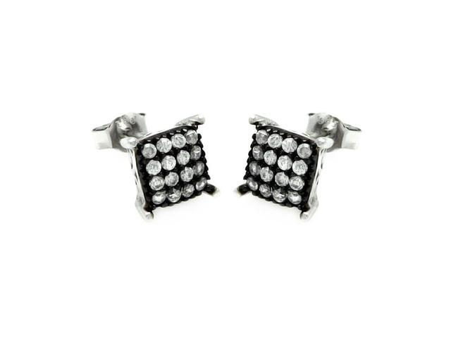 .925 Sterling Silver Black &  Silver Rhodium Plated Square Cubic Zirconia Post Earring