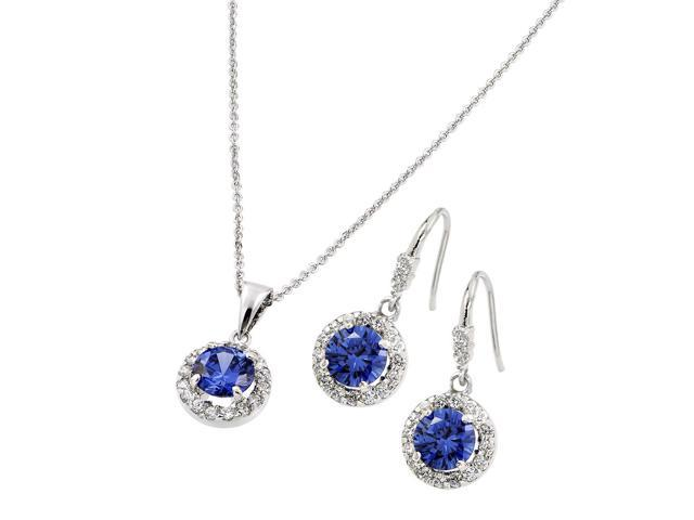 Blue Sapphire Cubic Zirconia CZ .925 Sterling Silver Necklace Pendant Earrings Jewelry Set Adjustable 16-18 Inch