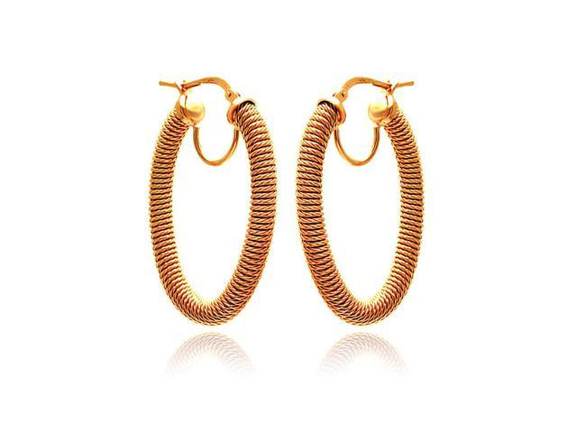 .925 Sterling Silver Rose Gold Plated Hoop Earring