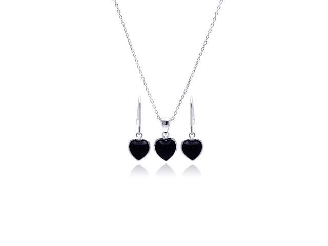 .925 Sterling Silver Rhodium Plated Black Onyx Heart Cubic Zirconia Dangling Hook Earring &  Necklace Set