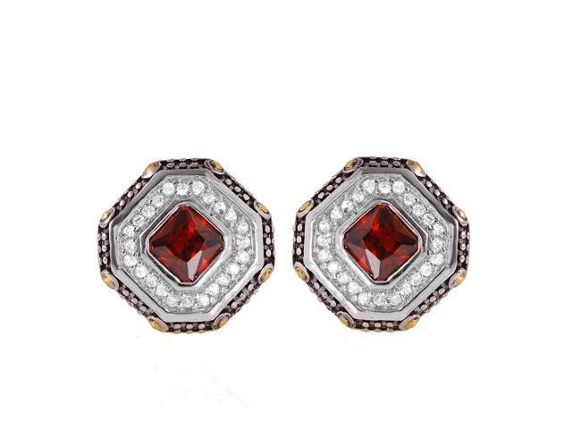 .925 Sterling Silver Rhodium Plated Red Cluster Earring