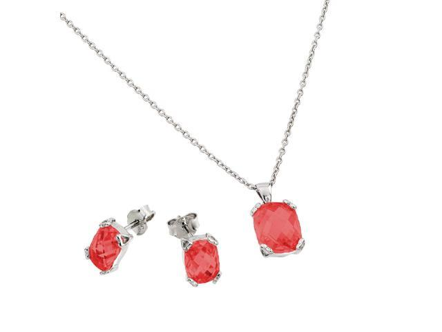 .925 Sterling Silver Rhodium Plated Red Square Cubic Zirconia Stud Earring &  Necklace Set July Birthstone Ruby