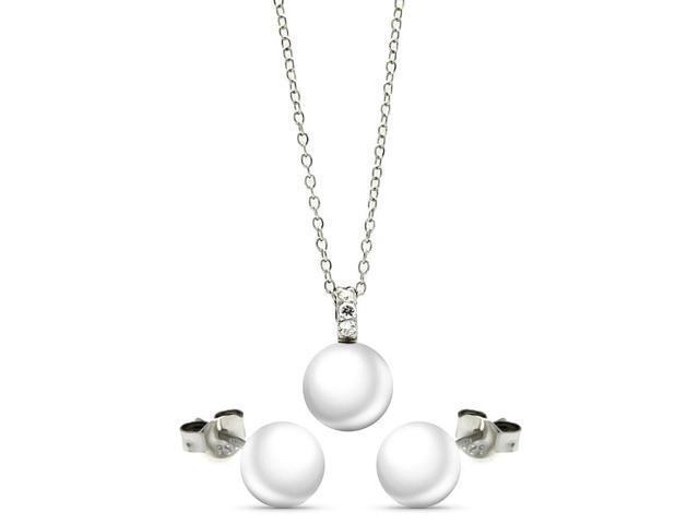 .925 Sterling Silver Rhodium Plated Pearl Stud Earring &  Necklace Set