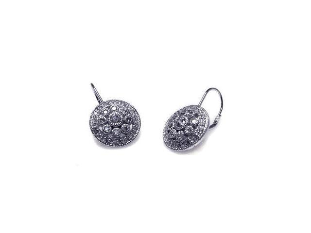 .925 Sterling Silver Rhodium Plated Round Cluster Cubic Zirconia Hook  Earring