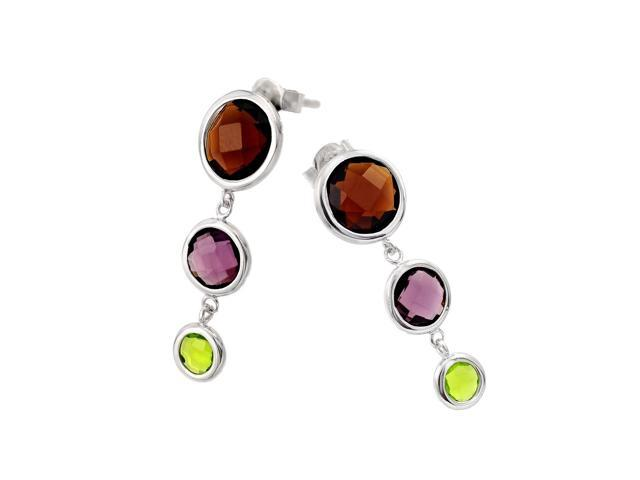.925 Sterling Silver Rhodium Plated Graduated Multicolor Round Cubic Zirconia Wire Dangling Earring