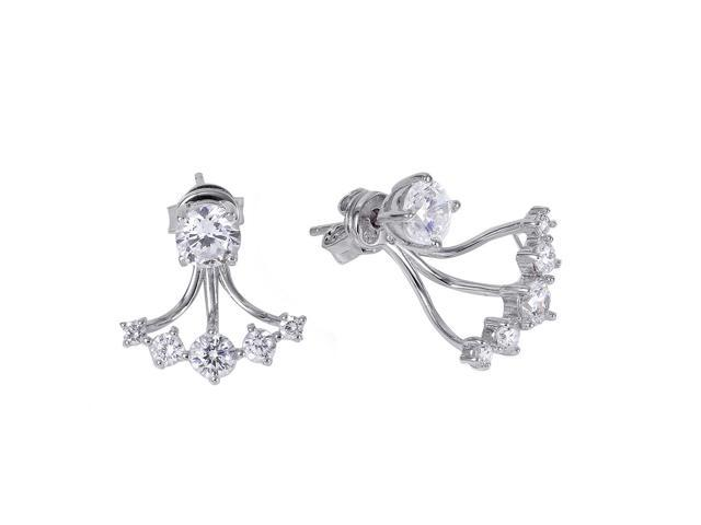 .925 Sterling Silver Rhodium Plated Cubic Zirconia Claw Earring