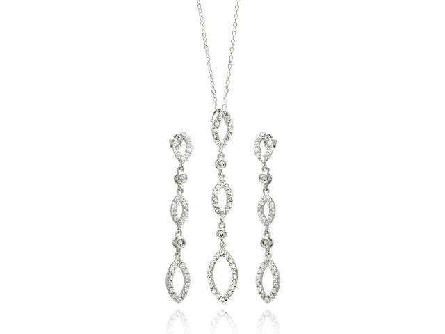 .925 Sterling Silver Rhodium Plated Open Marquise Dangling Cubic Zirconia StudEarring &  Necklace Set