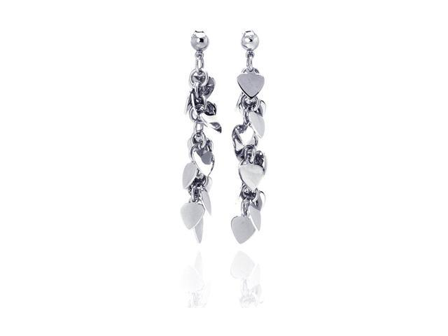 .925 Sterling Silver Rhodium Plated Multiple Dangling Solid Heart Stud Earring