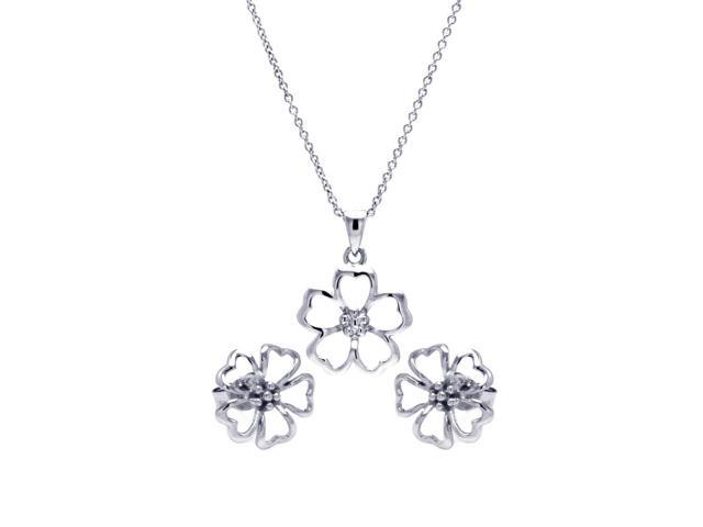 .925 Sterling Silver Rhodium Plated Open Flower Cubic Zirconia Stud Earring &  Necklace Set