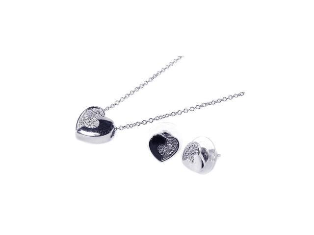 .925 Sterling Silver Rhodium Plated Clear Half Micro Pave Heart Cubic Zirconia Stud Earring &  Necklace Set