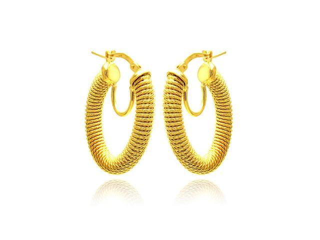 .925 Sterling Silver Gold Plated Hoop Earring