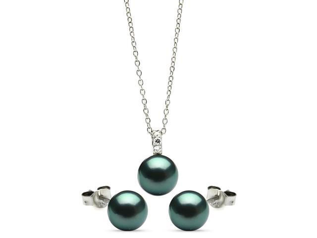 .925 Sterling Silver Rhodium Plated Dark Grey Teal Stud Earring &  Necklace Set 18 Inches