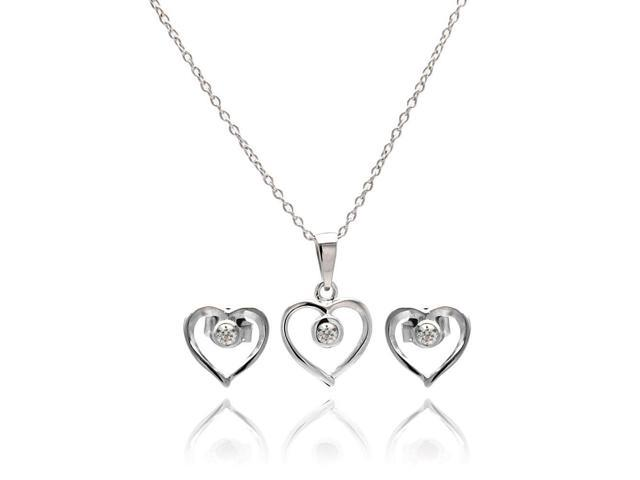 .925 Sterling Silver Rhodium Plated Open Heart Round Cubic Zirconia Stud Earring &  Necklace Set