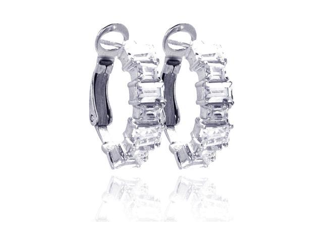 .925 Sterling Silver Rhodium Plated  Clear Baguette Cubic Zirconia Hoop Earring