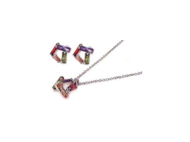 .925 Sterling Silver Rhodium Plated  Multicolor Baguette Open Square Cubic Zirconia Stud Earring &  Necklace Set