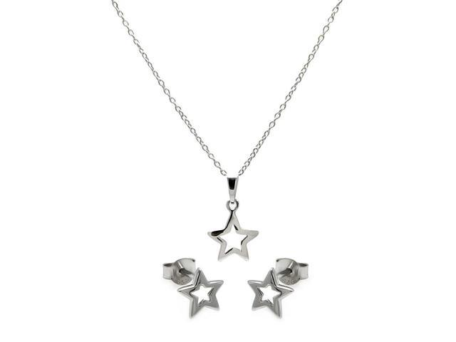 .925 Sterling Silver Rhodium Plated Open Star Cubic Zirconia Stud Earring &  Necklace Set