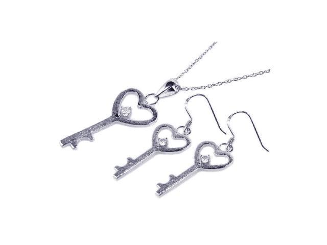 .925 Sterling Silver Rhodium Plated Kingdom Heart Key  Cubic Zirconia  Hook Earring &  Necklace Set