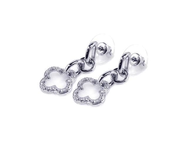 .925 Sterling Silver Rhodium Plated Clear Open Clover Cubic Zirconia Dangling Earring