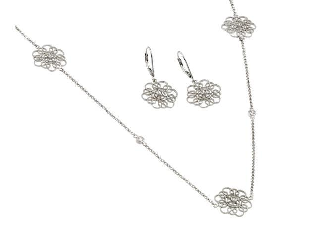 .925 Sterling Silver Rhodium Plated Clear Flower Filigree Cubic Zirconia Leverback Earring &  Necklace Set