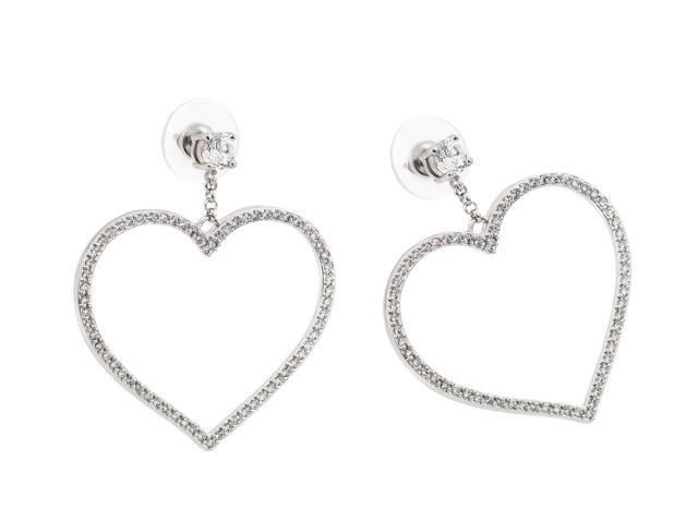 .925 Sterling Silver Rhodium Plated  Heart Cubic Zirconia Dangling Earring