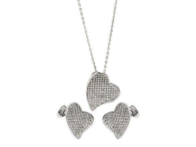 .925 Sterling Silver Rhodium Plated Micro Pave Clear Curl Heart Cubic Zirconia Stud Earring &  Necklace Set