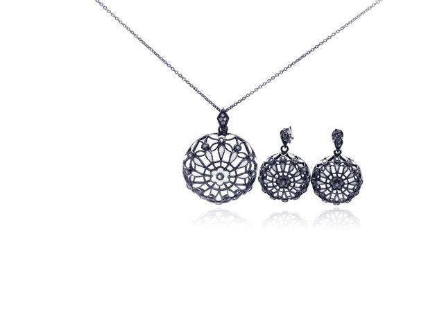 .925 Sterling Silver Rhodium Plated Flower Round Black  Cubic Zirconia Dangling Earring &  Necklace Set