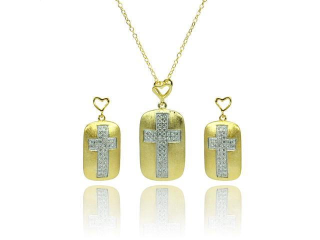 .925 Sterling Silver Rhodium &  Gold Plated Clear Cubic Zirconia Cross Center Open Heart Dangling Earring &  Necklace Set