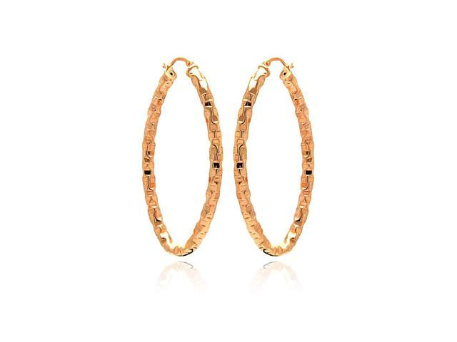 .925 Sterling Silver Rose Gold Plated Oval Hoop Earring