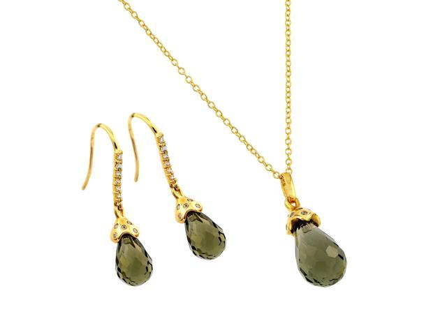 .925 Sterling Silver Gold Plated Green Teardrop Cubic Zirconia Hook Earring & Necklace Set
