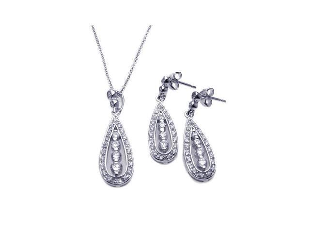 .925 Sterling Silver Rhodium Plated Teardrop Channel Cubic Zirconia Dangling Earring & Necklace Set