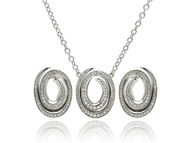 Rhodium Plated Brass Open Oval Spiral Clear Cubic Zirconia Stud Earring & Necklace Set