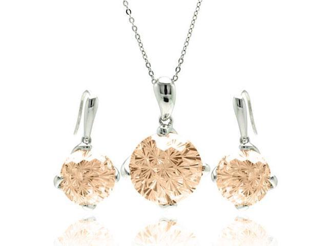 .925 Sterling Silver Rhodium Plated Round Brown Cubic Zirconia Hook Earring & Necklace Set