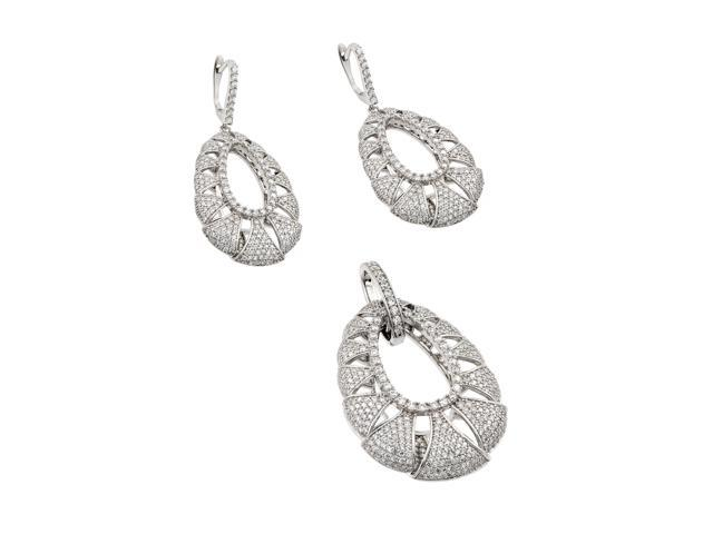 .925 Sterling Silver Micro Pave Teardrop Cubic Zirconia Dangling Earring & Dangling Necklace Set
