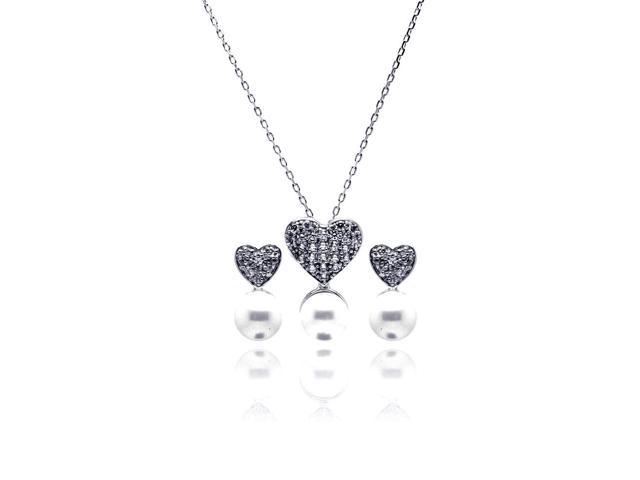 .925 Sterling Silver Rhodium Plated Pearl Clear Heart Cubic Zirconia Hanging Stud Earring & Hanging Necklace Set