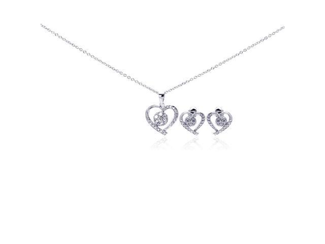 .925 Sterling Silver Rhodium Plated Open Heart Clear Outline Cubic Zirconia Stud Earring & Necklace Set