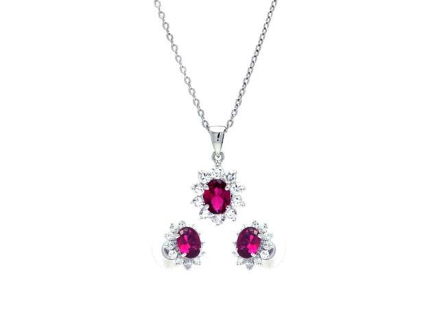 .925 Sterling Silver Rhodium Plated Red  Ruby & Clear Cluster Flower Cubic Zirconia Stud Earring & Dangling Necklace Set