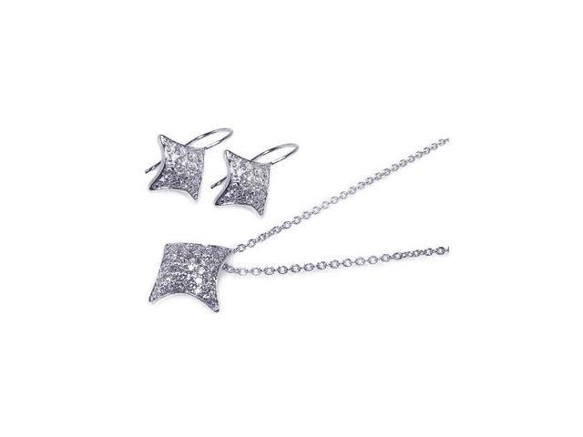 .925 Sterling Silver Rhodium Plated Curve Square Cubic Zirconia Hook Earring & Necklace Set