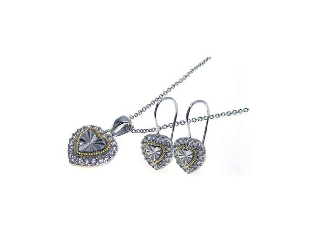 .925 Sterling Silver Gold & Rhodium Plated Heart Cubic Zirconia Hook Earring & Necklace Set